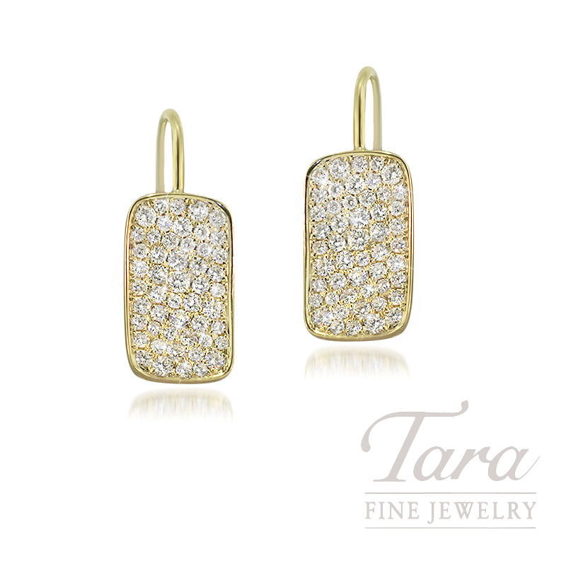 18K Yellow Gold Pave Diamond Earrings, 3.3G, .71TDW