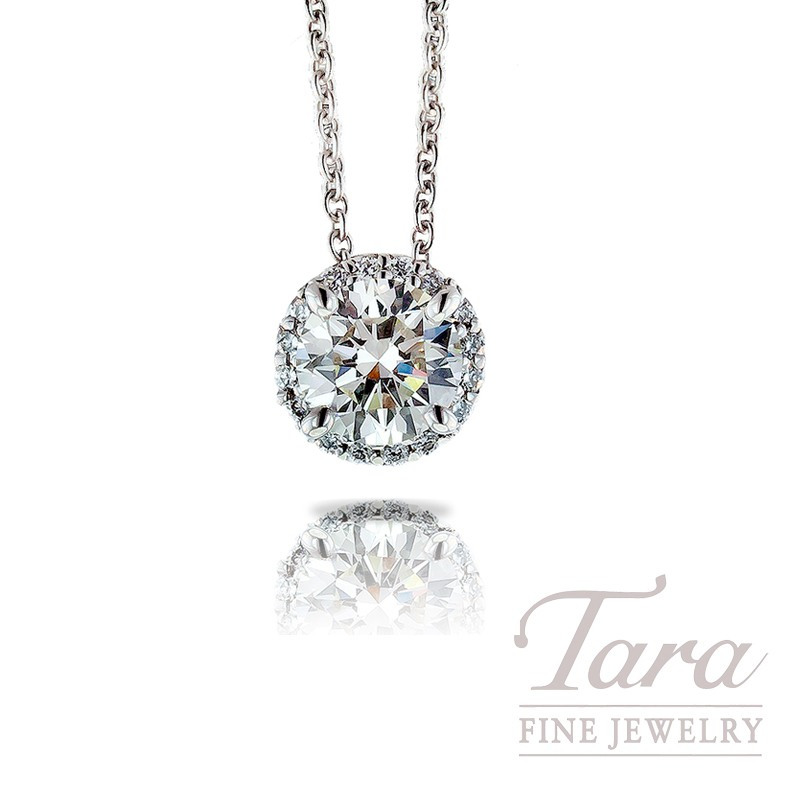 Ritani 18k White Gold Diamond Pendant with Chain , .71CT Forevermark Round Center Diamond, .08TDW Round Diamonds