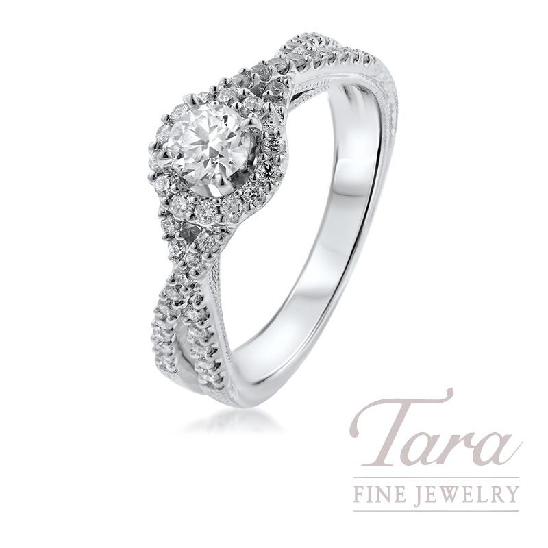 14K White Gold Diamond Halo Engagement Ring, .21CT Center Diamond, .35TDW