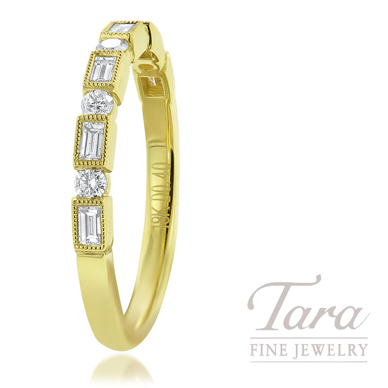 18K Yellow Gold Diamond Band 5 Round Diamonds 0.15TDW, 6 Baguette Diamonds 0.24TDW, 2.4G