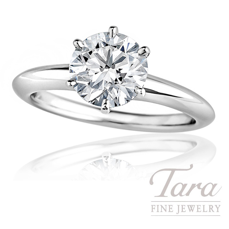 18K White Gold Round Diamond Solitaire Engagement Ring - Click for Available Sizes!