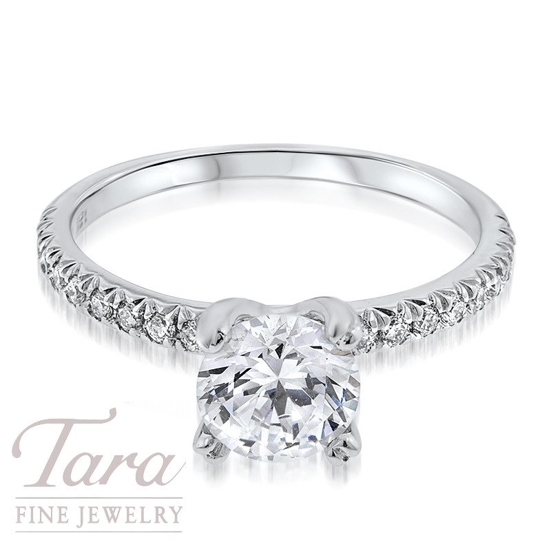 Diamond Engagement Ring in 18K White Gold .25TDW (Center Stone Sold Separately)