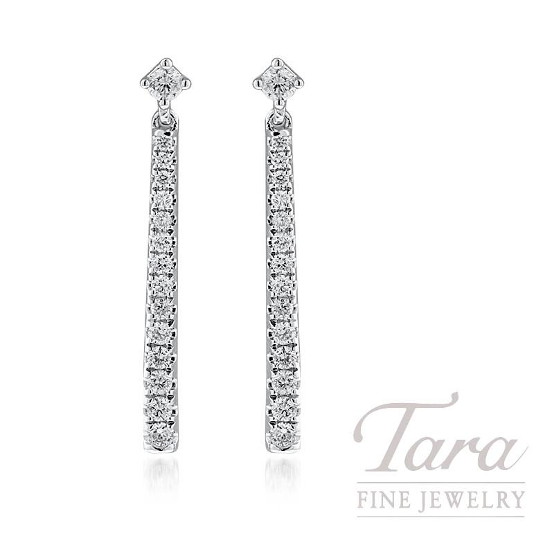 18K White Gold Diamond Bar Dangle Earrings, 1.8G, .31TDW