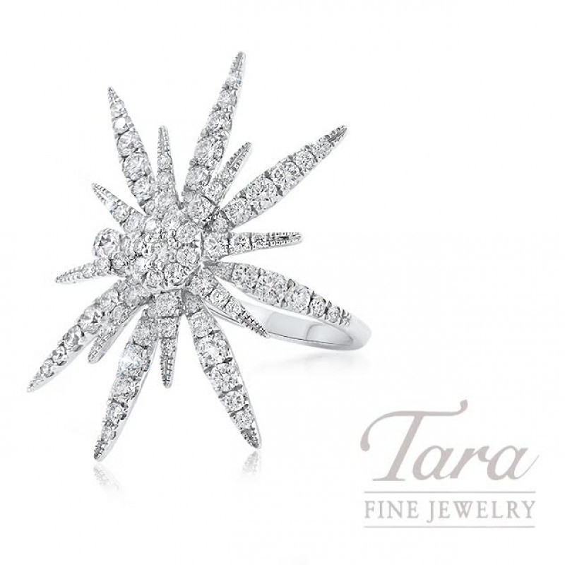 18K White Gold Sparkler Diamond Ring, 4.0G, 1.25TDW