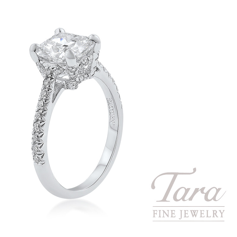 18K White Gold Cushion Diamond Engagement Ring,  4.1G, 2.02CT Cushion Diamond, .40TDW Round Diamonds