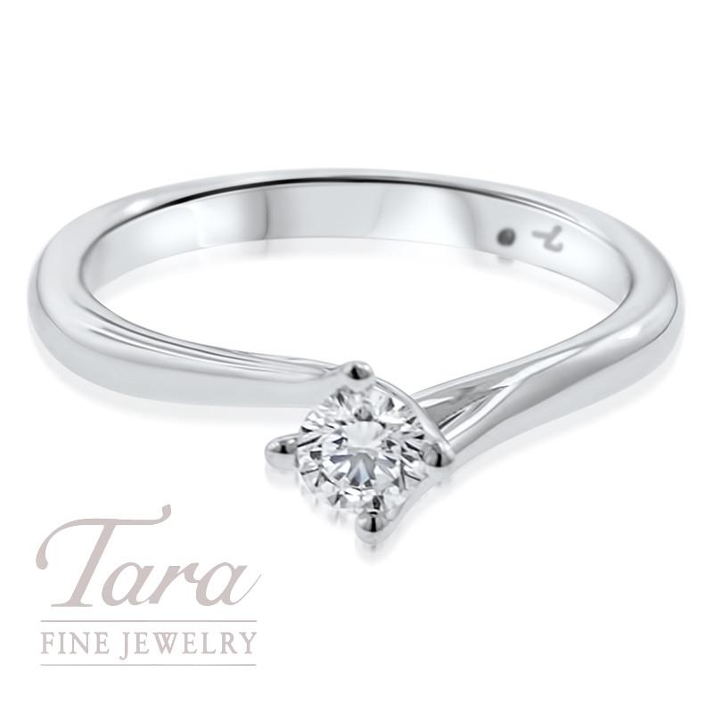 Diamond Solitaire Engagement Ring 18K White Gold 24CT Center Tara