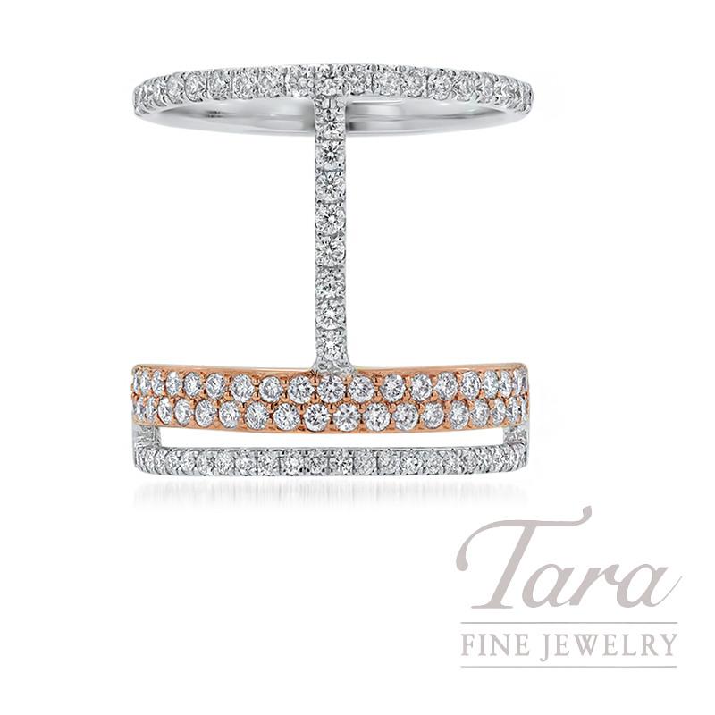 18K Rose & White Gold Geometric Diamond Ring, 7.0G, 1.00TDW