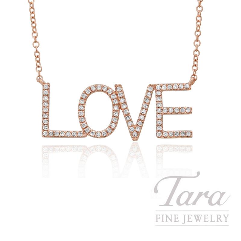 "14k Rose Gold ""LOVE"" Diamond Necklace, 16/18"" Chain, .19TDW"