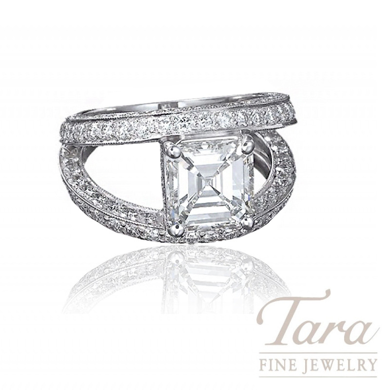 J.B. Star Platinum Diamond Engagement Ring, 2.39CT Asscher Cut Diamond, 2.12TDW