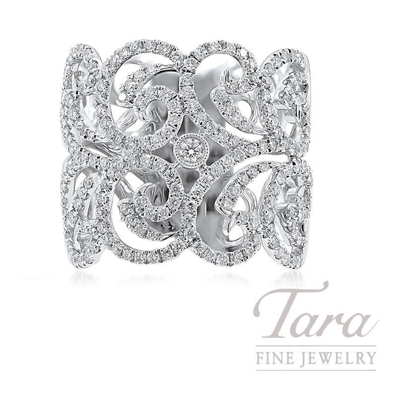 18K White Gold Swirl Diamond Ring, 7.5G, .95TDW