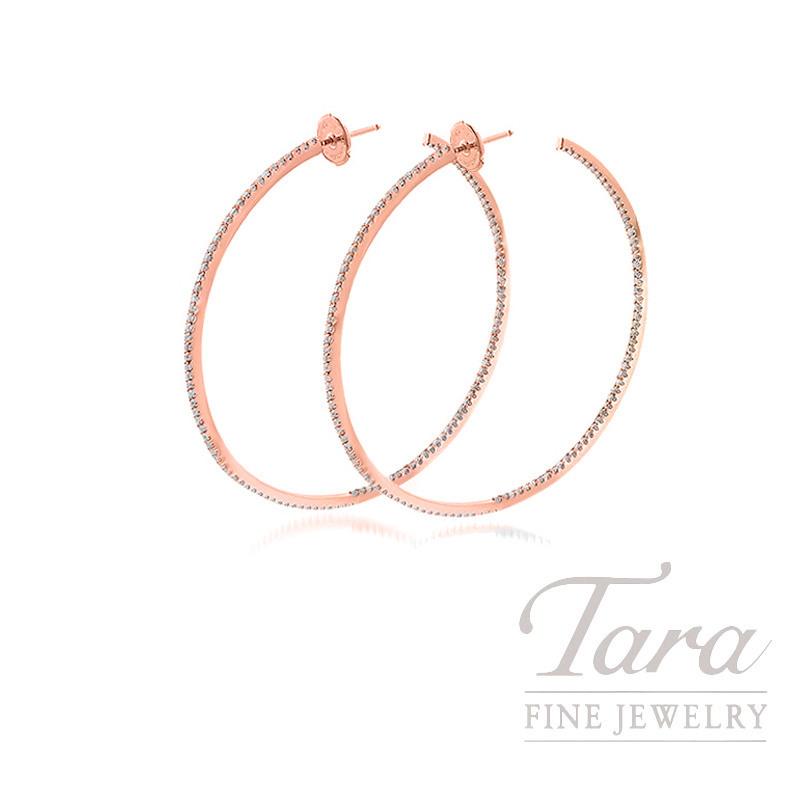 18K Rose Gold Diamond Hoop Earrings, 9.1G, 1.30TDW