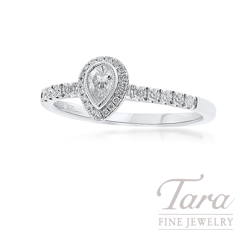 Simon G 14k White Gold Pear-Shape Diamond Stackable Ring, 2.3G, .15CT Pear-shape Diamond, .15TDW