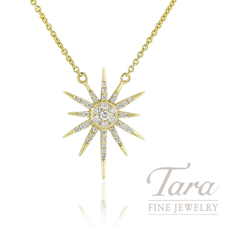 "18K Yellow Gold Diamond Sparkler Necklace, 16/18"" Chain, 3.6G, .22TDW"