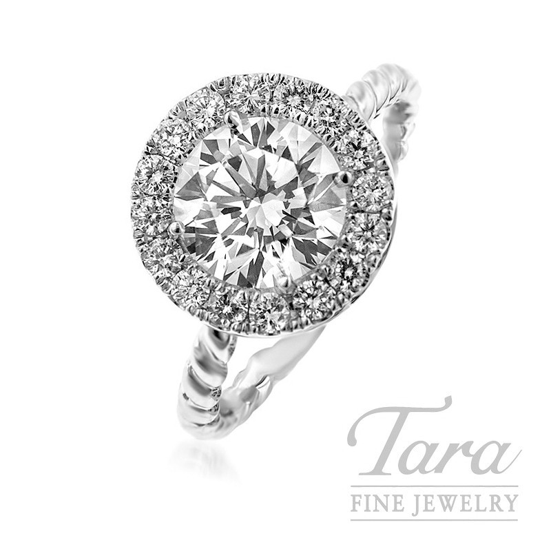 "18K White Gold ""Twisted"" Ring with 1.52CT Forevermark Center"