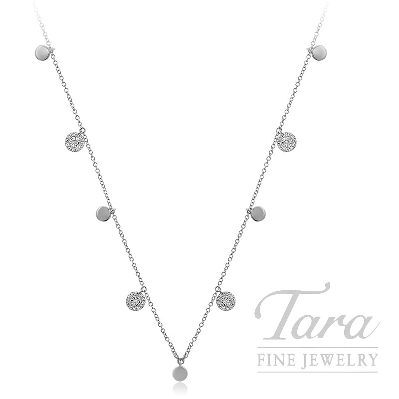 "18k White Gold Pave Diamond Stationary Necklace, 16/17/18"" Chain, 4.4G, .25TDW"