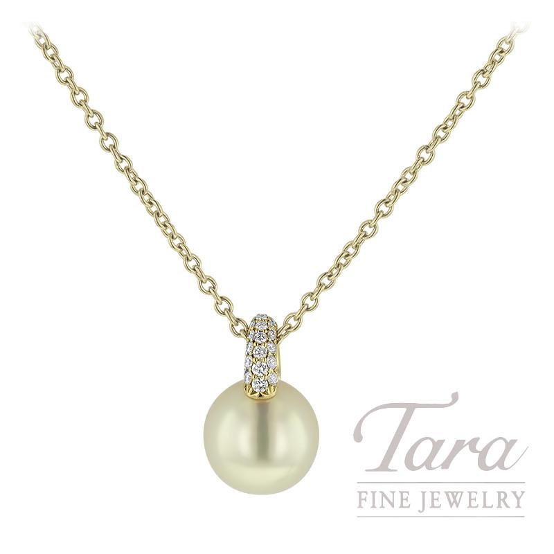 Mikimoto 18K Yellow Gold Pearl Pendant, 8.5MM Pearl, 36 Round Diamonds .14TDW