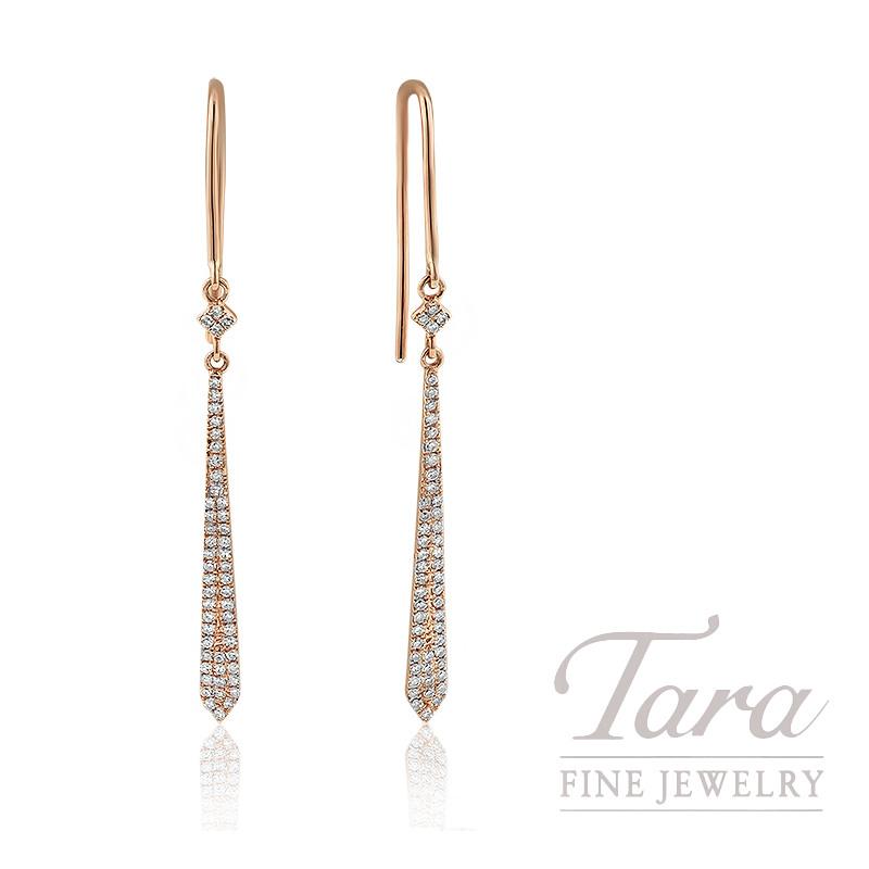 18K Rose Gold Diamond Dangle Earrings, 1.6G, .25TDW