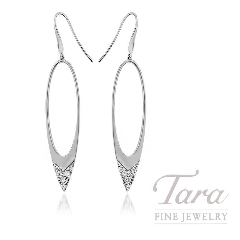 18k White Gold Diamond Dangle Earrings, 5.3G, .35TDW