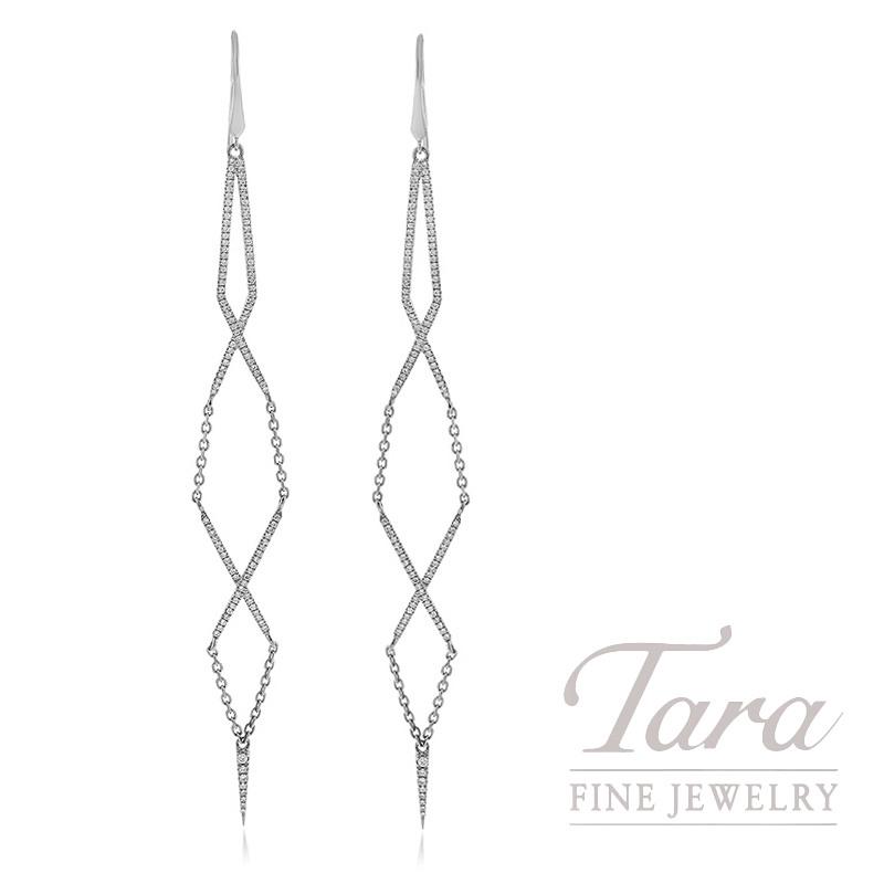 18k White Gold Diamond Dangle Earrings, 5.8G, .76TDW