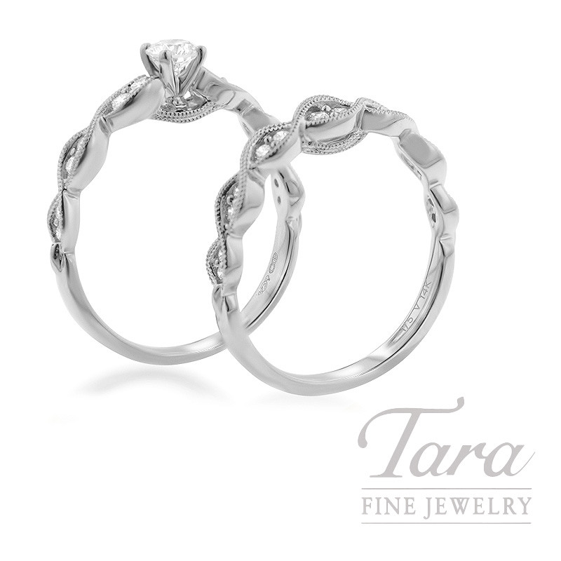 14k White Gold Diamond Wedding Set, .25CT Center Stone in Semi-Mount