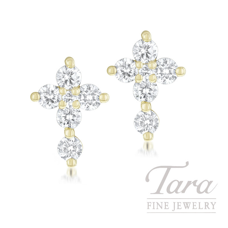 18K Yellow Gold Diamond Cross Earrings, .32TDW