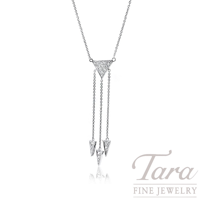 "18K White Gold Triangle Diamond Necklace,16/18"" Chain,  4.5G, .37TDW"