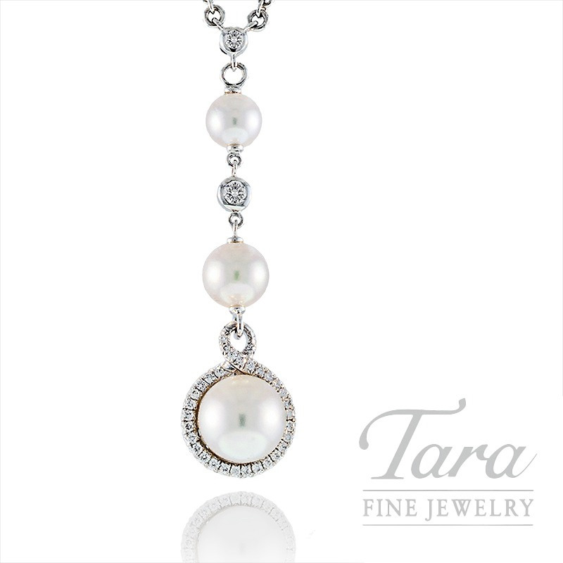 Mikimoto South Sea Pearl & Diamond Pendant with Chain, .17 CT TDW in 18K White Gold