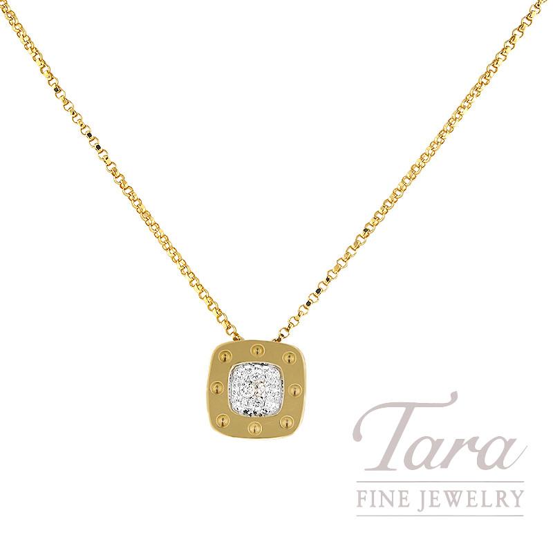Roberto Coin 18K Yellow Gold Square Pois Moi Diamond Necklace, .25TDW, Pois Moi Collection
