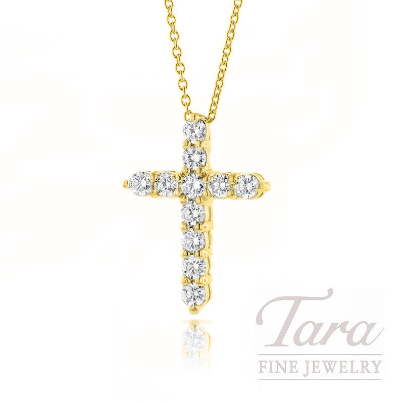 Roberto Coin 18K Yellow Gold Diamond Cross Necklace, .39TDW
