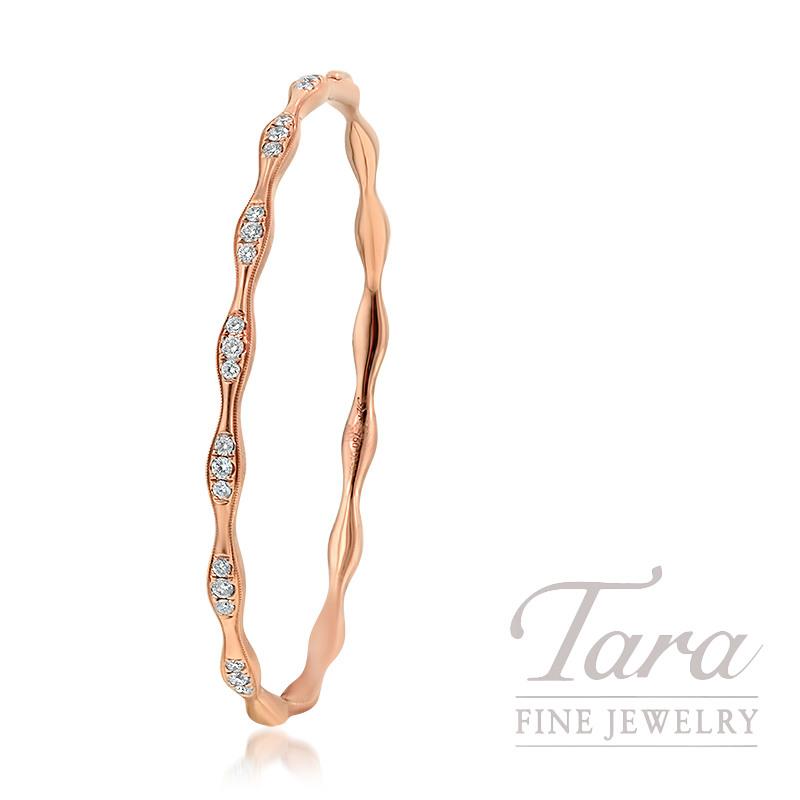 18K Rose Gold Diamond Bangle, 12.0G, .48TDW