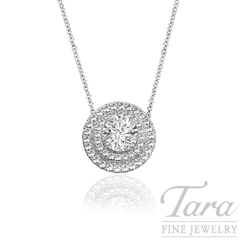 A jaffe 18k white gold double halo diamond pendant 60g 37tdw a jaffe 18k white gold double halo diamond pendant 60g 37tdw center stone sold separately aloadofball Image collections