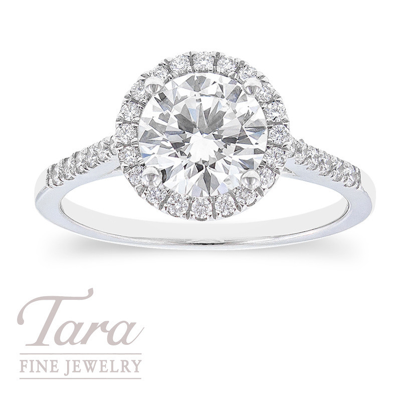 Forevermark 18k White Gold Diamond Halo Engagement Ring, 1.05CT Forevermark Diamond, 2.7G, .25TDW (Center Stone Sold Separately)
