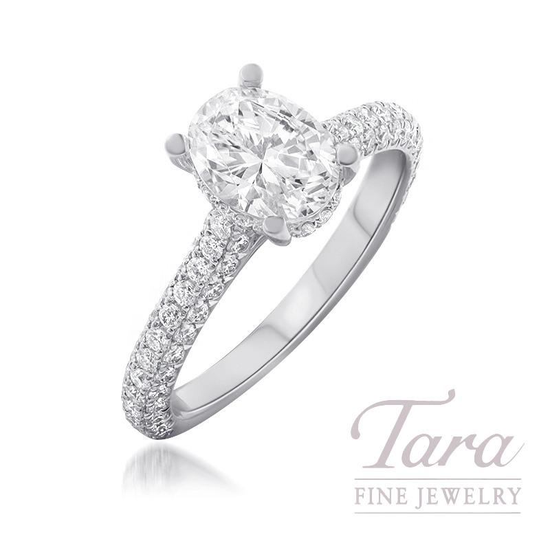 Platinum & 18K White Gold Oval Diamond Pave Engagement Ring, 3.9G, .35TDW (Center Stone Sold Separately)