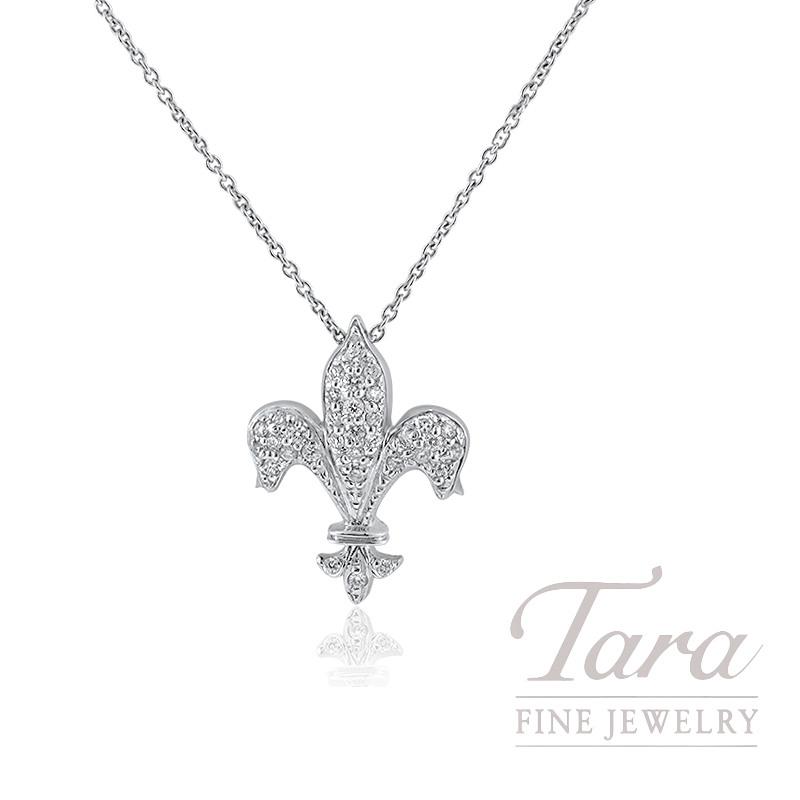 Roberto Coin 18K White Gold Fleur De Lis Diamond Necklace, .18TDW