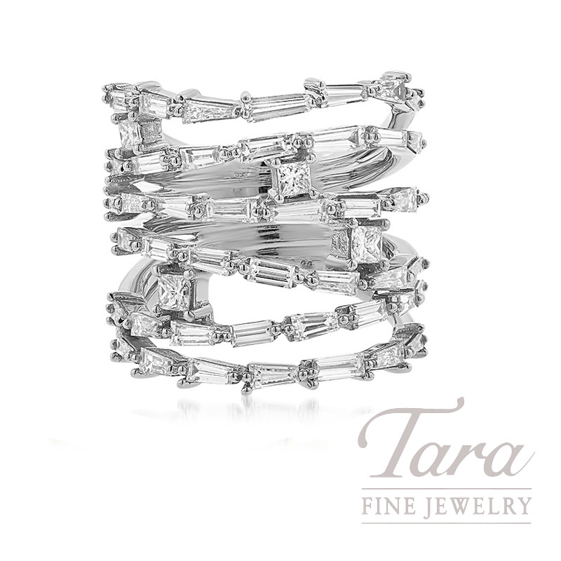 18k White Gold Princess Cut & Baguette Diamond Ring, 13.4G, .32TW Princess Cut Diamonds, 2.55TW Baguette Diamonds, 2.87TDW