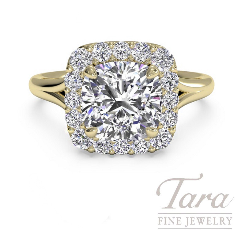 Ritani 18k Yellow Gold Diamond Halo Engagement Ring, 3.3G, .22TDW (Center Stone Sold Separately)