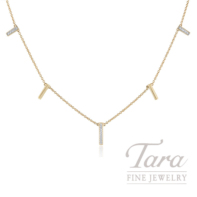 18k Yellow Gold Diamond Bar Stationary Necklace, .05TDW