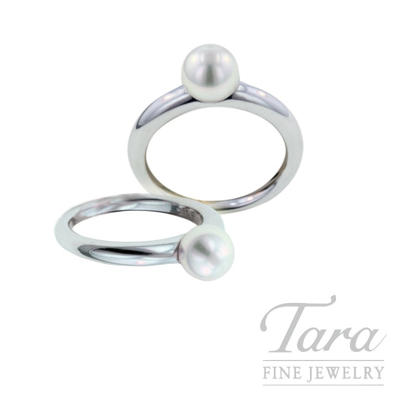 Mikimoto Pearl Ring with 6.5mm Akoya Pearl in 18K White Gold