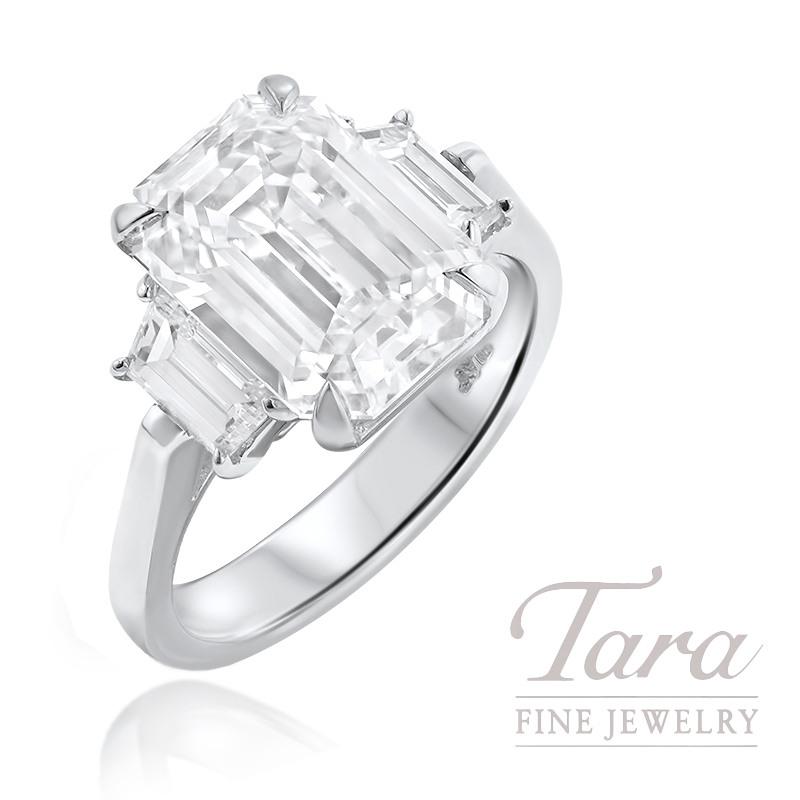 5.27CT Emerald Cut Diamond J-VVS2 GIA Certified, Platinum Semi Mount 2 Trapizoid Diamonds 1.0TDW H-VS1 10.4G,