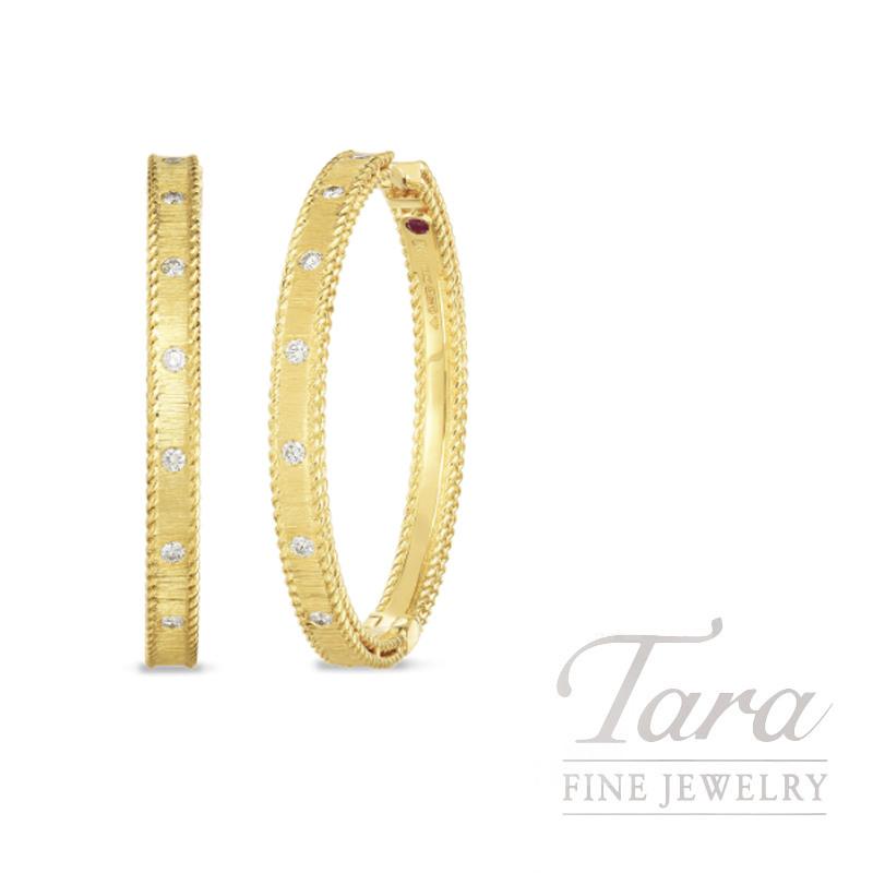 18K Yellow Princess Diamond Hoop Earrings .18TDW