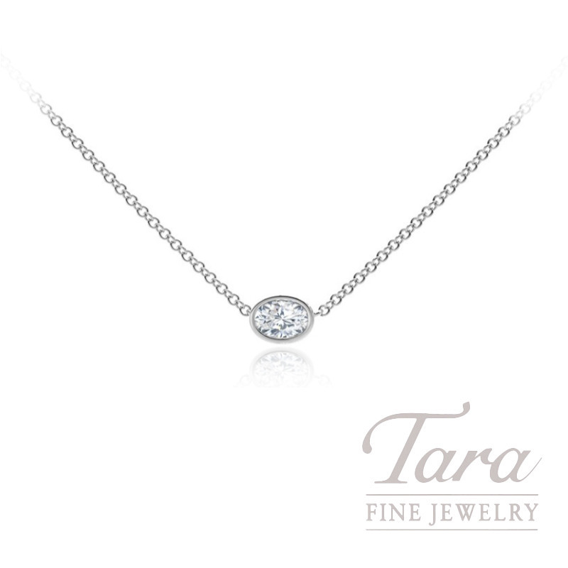 Forevermark 18k White Gold Oval-shape Diamond Bezel Necklace, .29CT