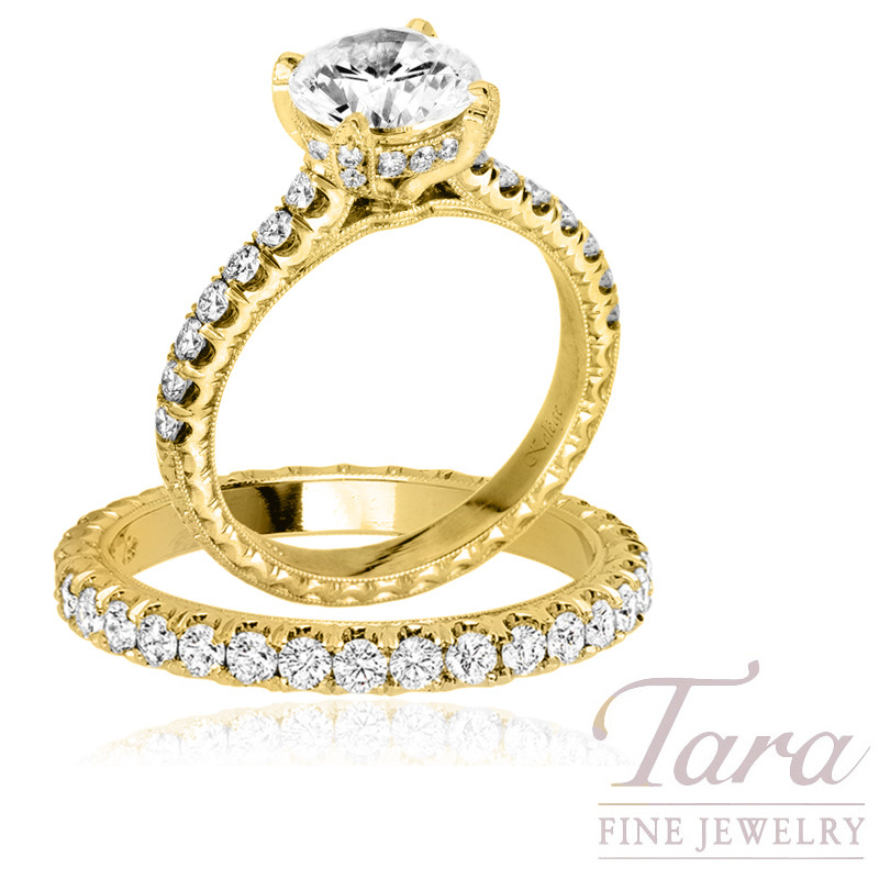 Jack Kelege 18k Yellow Gold Diamond Wedding Set, 1.60CT Forevermark Diamond, 7.3G, 1.10TDW (Center Stone Sold Separately)