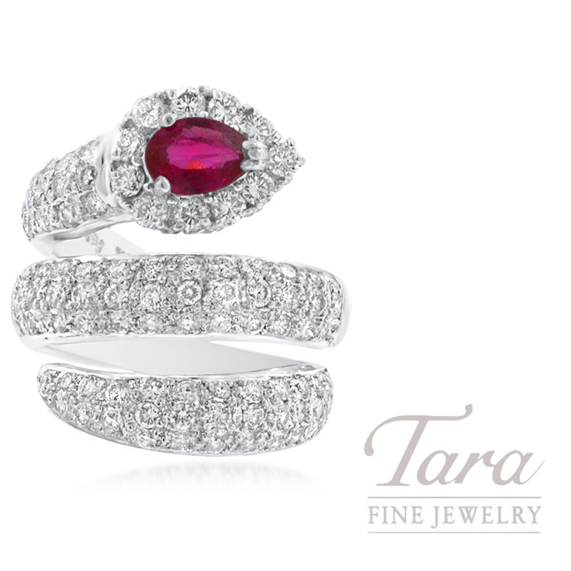 18K White Gold Ruby and Diamond Fashion Ring, .50CT Pear-shape Ruby, 2.00TDW