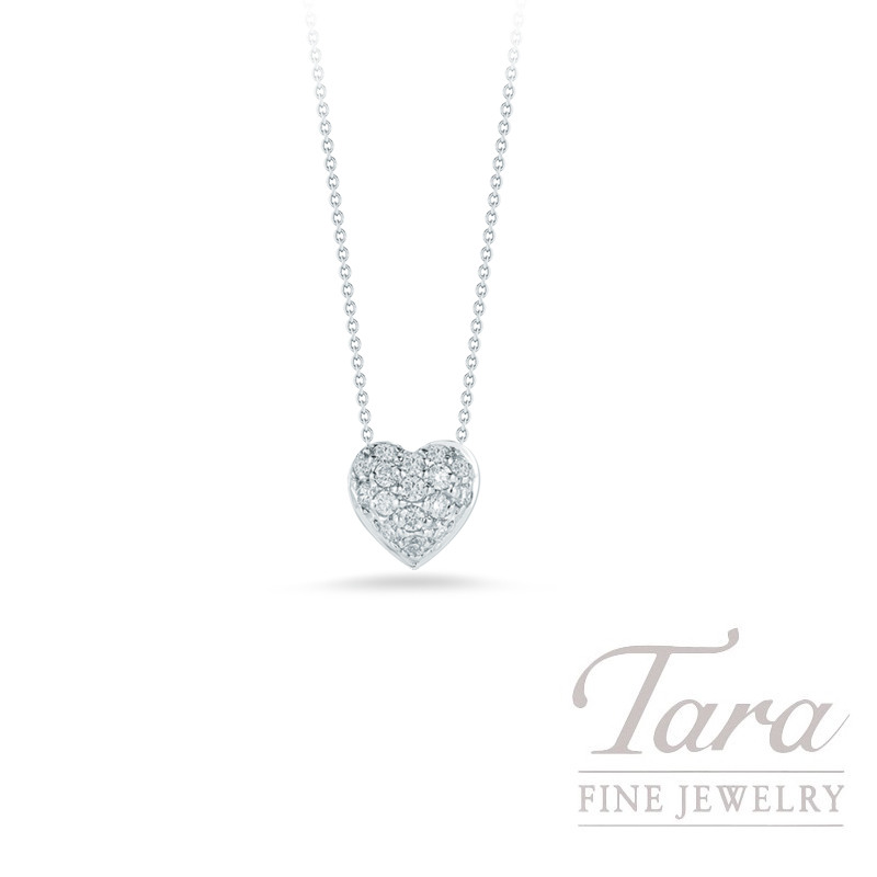 Roberto Coin 18K White Gold Diamond Puffed Heart Necklace, .15TDW