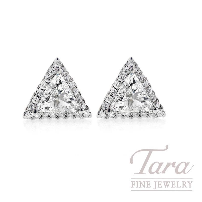 18k White Gold Trillion Diamond Halo Earrings