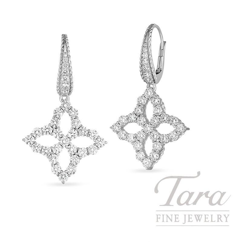 Roberto Coin 18K White Gold Diamond Princess Flower Drop Earrings 2.57TDW