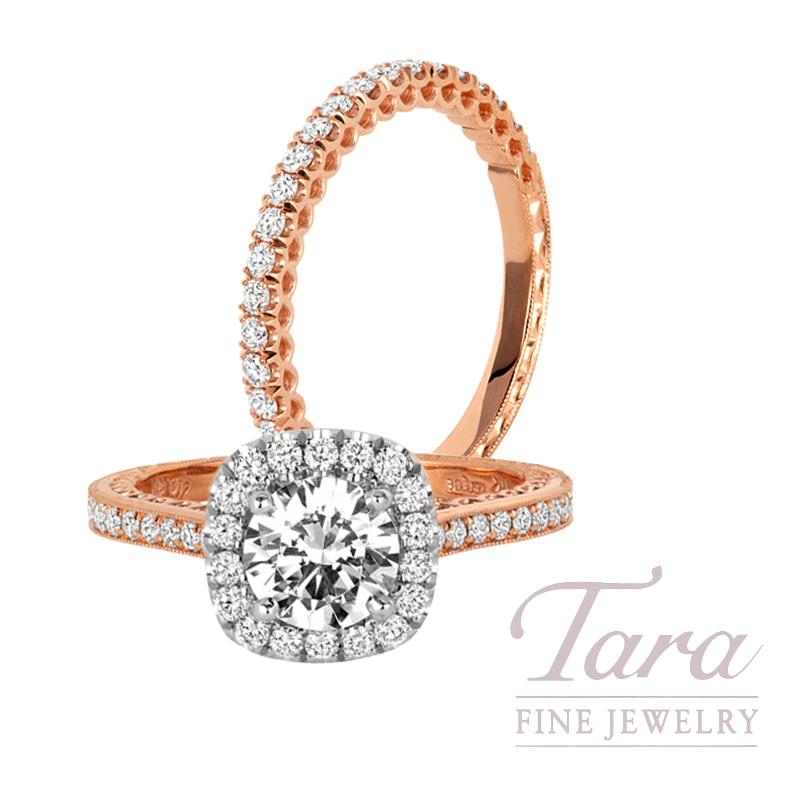 Jack Kelege 14k Rose Gold & 18k White Gold  Diamond Halo Wedding Set, 5.7G, .80TDW (Center Stone Sold Separately)