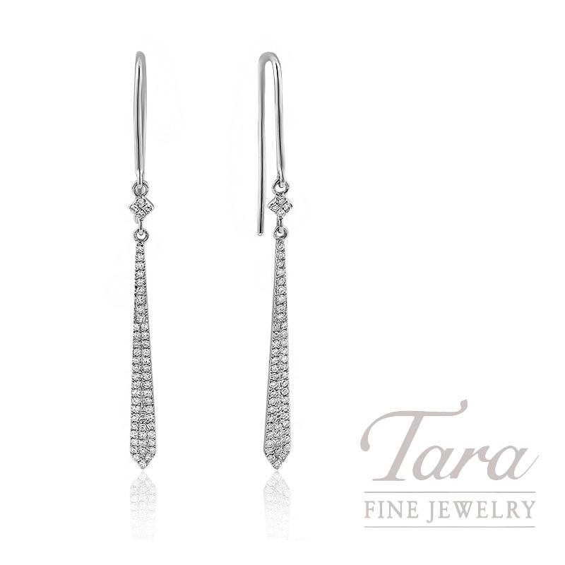 18k White Gold Diamond Dangle Earrings, 1.6G, .25TDW