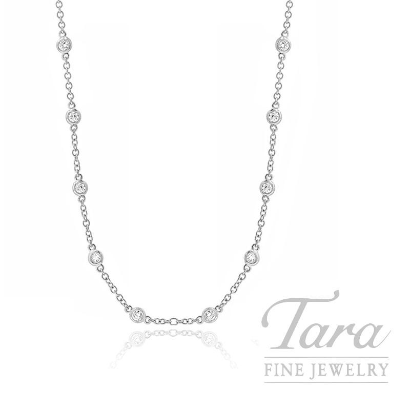 """18k White Gold Diamond Chain Necklace, 16/18/20"""" Chain, 4.2G, .41TDW"""