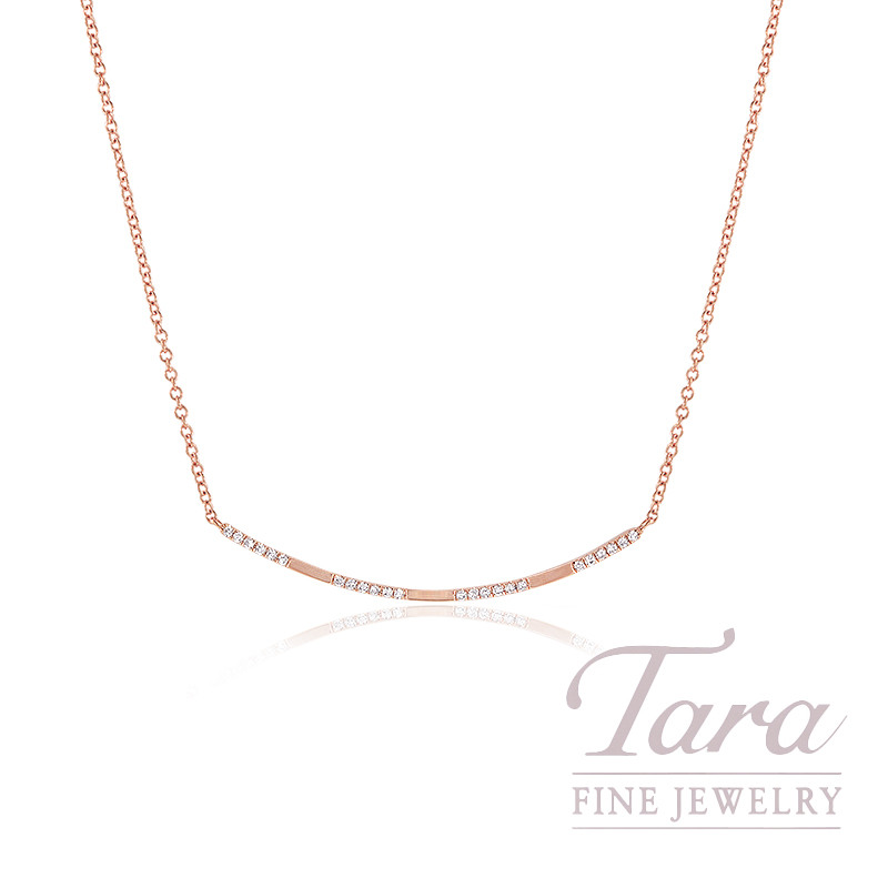 "18K Rose Gold Diamond Necklace, 16/17/18"" Chain, 2.2G, .08TDW"